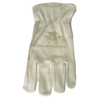Massey Branded Buffalo Leather Gloves, Size Medium